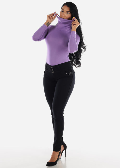 Long Sleeve Lavender Face Mask Bodysuit