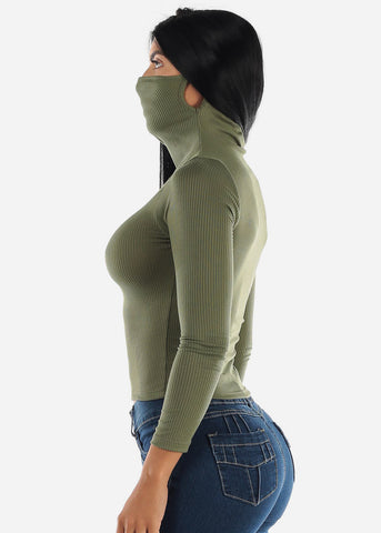 Long Sleeve Olive Face Mask Top