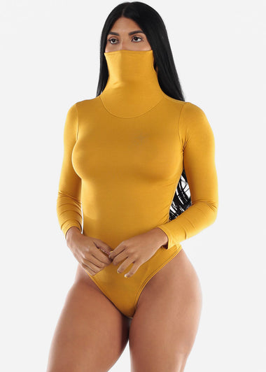 Long Sleeve Mustard Face Mask Bodysuit