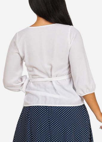Solid White Wrap Front Blouse