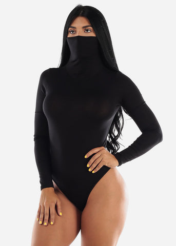 Long Sleeve Black Face Mask Bodysuit