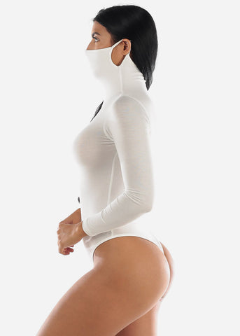 Image of Long Sleeve White Face Mask Bodysuit