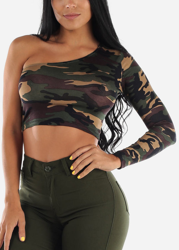Camo One Shoulder Crop Top