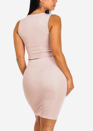 Sexy Lace-Up Sleeveless Top with Pencil Skirt Set