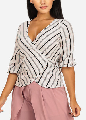White and Pink Wrap Front Blouse