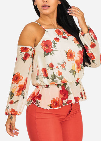 Image of Floral Print Top W Elastic Ruffle Detail
