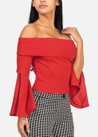 Image of Elegant Red Angel Sleeve Top