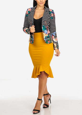 High Waisted Ruffle Hem Mustard Skirt