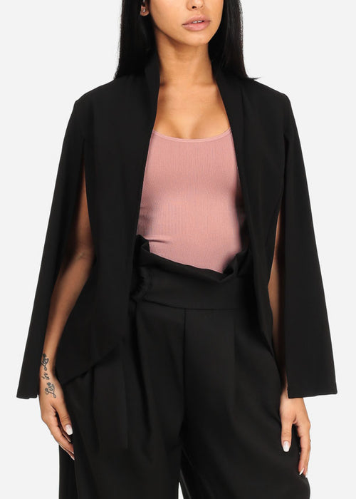 Black Blazer with Attached Cape