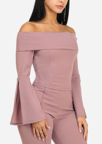 Image of Elegant Mauve Angel Sleeve Top