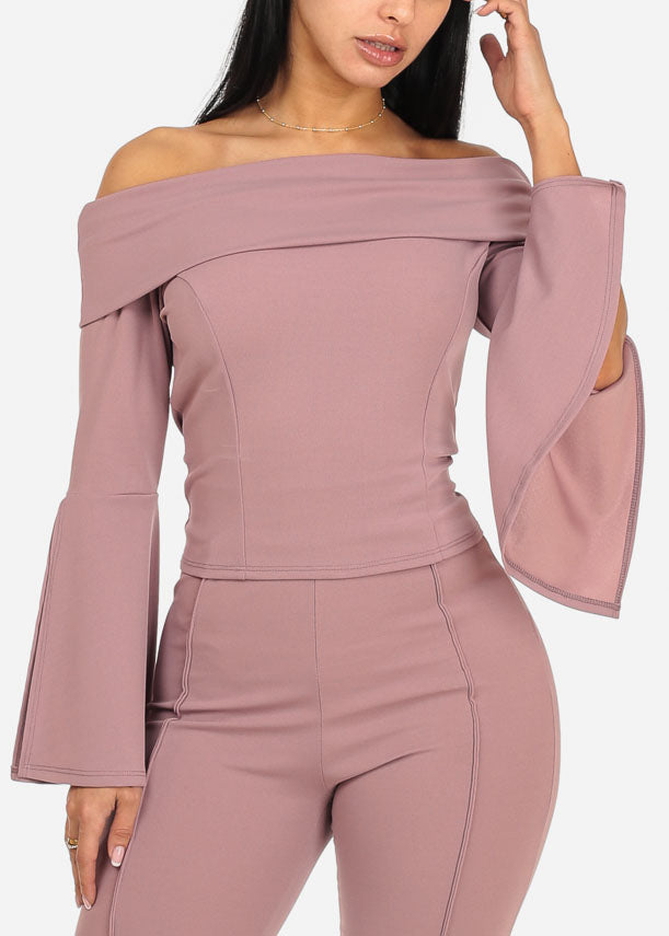 Elegant Mauve Angel Sleeve Top
