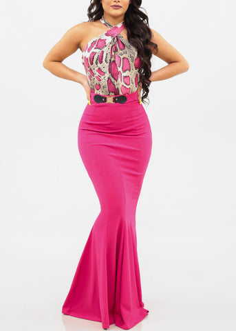 Women's Junior Ladies Must Have Part Night Out Clubwear Snake Print Hot Pink Crossover Neckline Bodysuit
