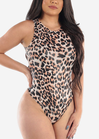 Sexy Round Neck Sleeveless Animal Print Stretchy Bodysuit For Women Ladies Junior Clubwear Party Night Out