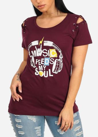 Image of Music Graphic Laced Up Burgundy Top