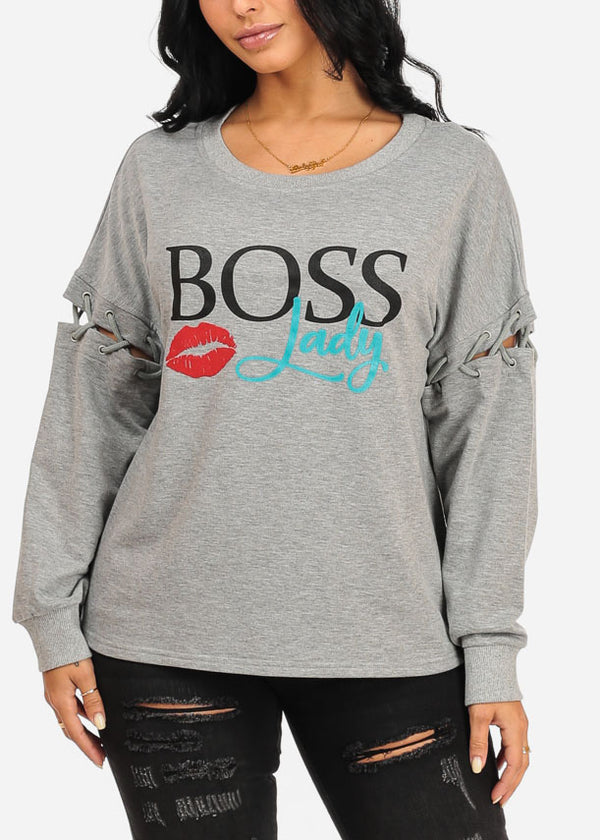 Boss Lady Graphic Grey Sweater Top