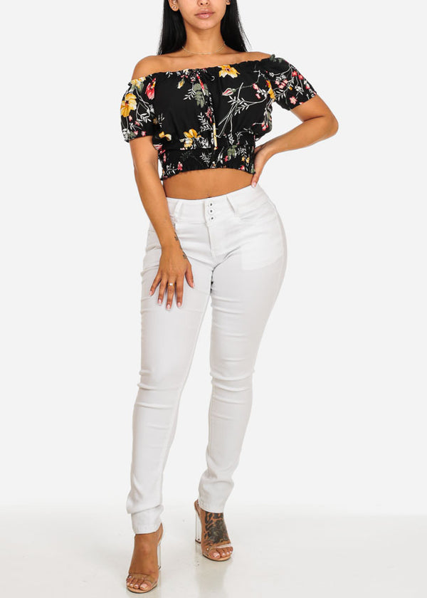Black Strapless Floral Print Blouse