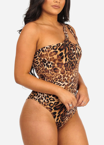 Women's Junior Ladies Sexy Must Have Night Out Club Wear One Shoulder keyhole Neckline Animal Print Bodysuit