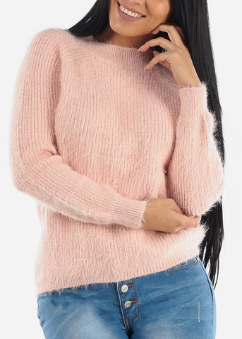 Cute Cozy Pink Knit Sweater