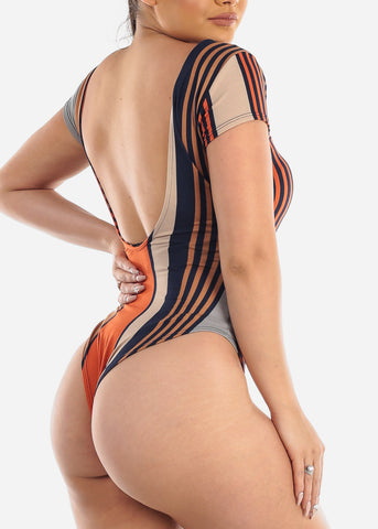 Sexy Multicolor Stripe Bodysuit