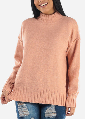 Mauve Knitted Long Sleeve Turtle Neck Sweatshirt