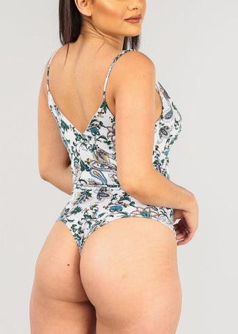 Image of Sexy White Floral Bodysuit