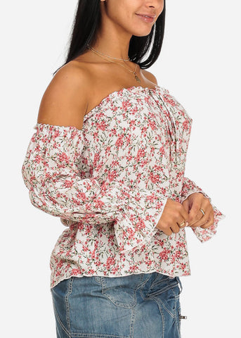 Image of Coral Floral Print Off Shoulder Top