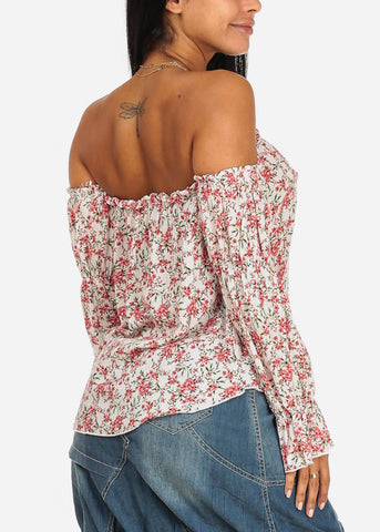 Coral Floral Print Off Shoulder Top