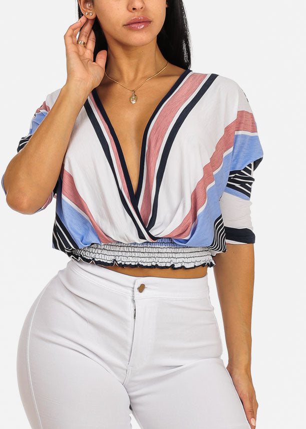 Blue Strip Elastic Hem Top