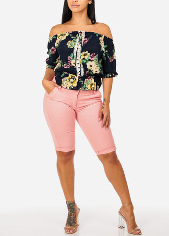 Navy Floral Elastic Blouse