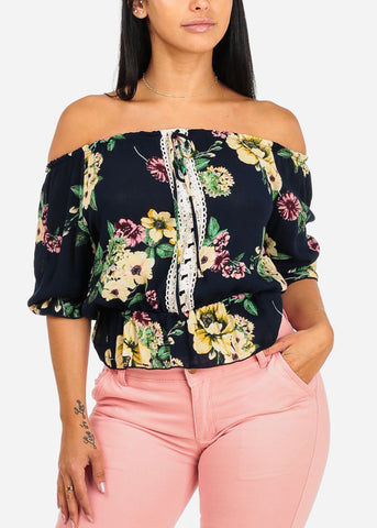 Image of Navy Floral Elastic Blouse