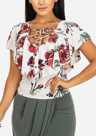 Image of White Floral  Lace-Up Top