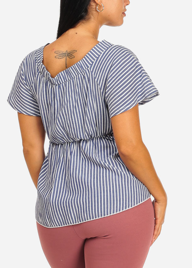 Stylish Blue Stripe Wrap Front Top