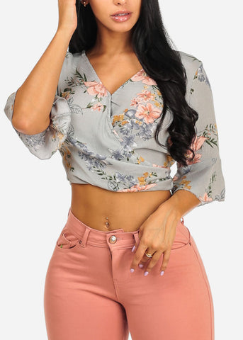 Grey Floral Print Tie Back Top