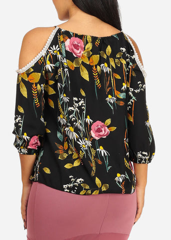 Image of Black Crochet Floral Top