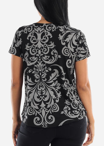 Image of Floral Black Blouse W Necklace
