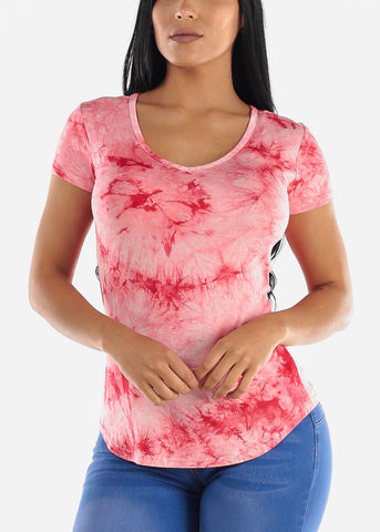 Image of Red Tie Dye Short Sleeve Top
