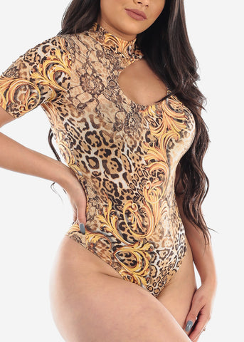 Sexy Multi Animal Floral Print Short Sleeve Beige Brown Bodysuit For Women Ladies Junior Clubwear Night Out