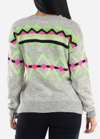 Image of Cozy Grey Printed Comfy Sweater
