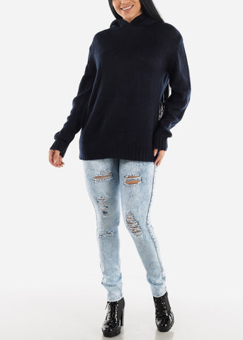 Navy Casual Knit Long Sleeve Hoody Sweater