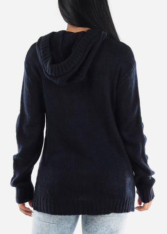 Image of Navy Casual Knit Long Sleeve Hoody Sweater