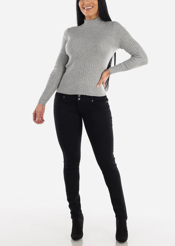 Image of Grey Longsleeve Mock Neck Sweater