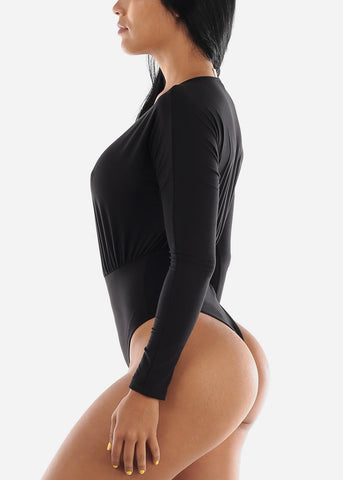 Image of Long Sleeve V-Neck Black Bodysuit