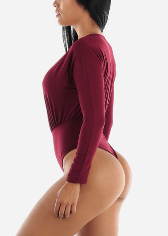 Long Sleeve V-Neck Burgundy Bodysuit
