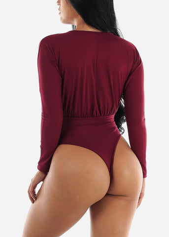 Image of Long Sleeve V-Neck Burgundy Bodysuit