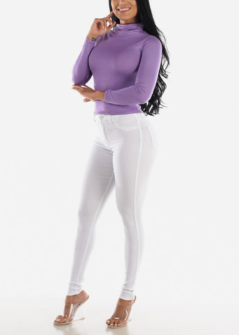 Image of Long Sleeve Lavender Face Mask Top