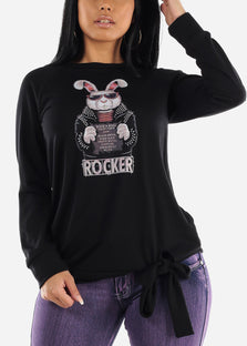 "Oversize Black Graphic Pullover Top ""Rocker"""