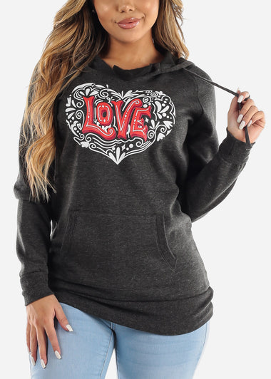 "Charcoal Graphic Tunic ""Love"""