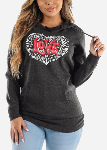 "Image of Charcoal Graphic Tunic ""Love"""
