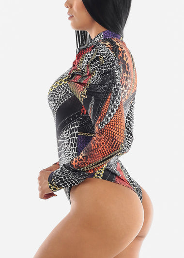 High Neck Printed Black Bodysuit