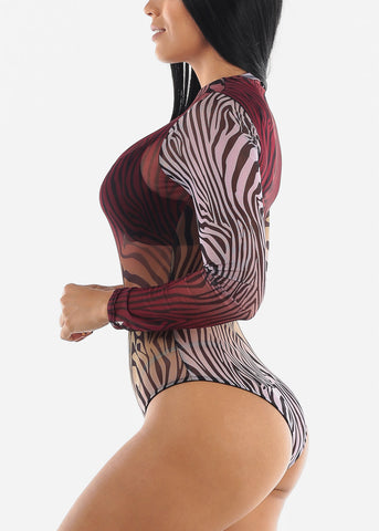 Image of Multicolor Zebra Printed Bodysuit